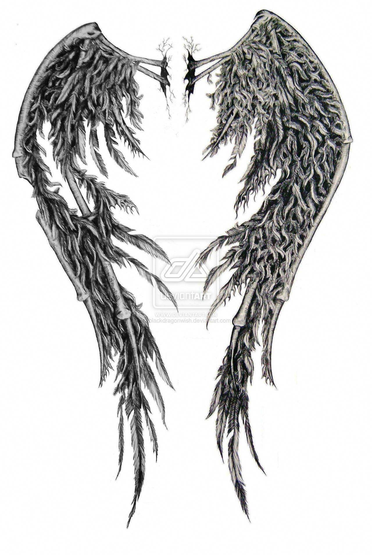 8860fb2d5d2b7 Fallen Angel wing tattoo design ideas #Tattoosonback | Tattoos on ...