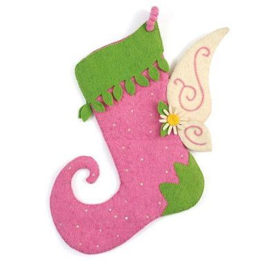 Arcadia Home Hand Felted Wool Fairy Christmas Stocking