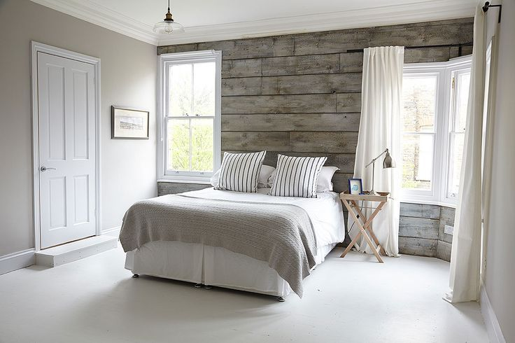 Light Gray Room With Wood Accent Wall