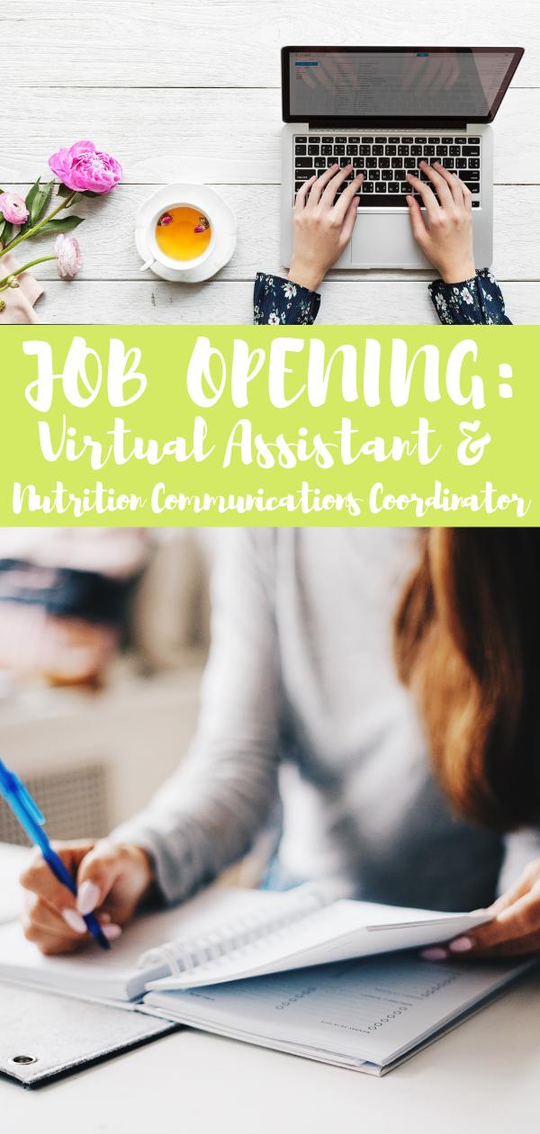 Job Opening Social Media Virtual Assistant Dietitian Jobs Job