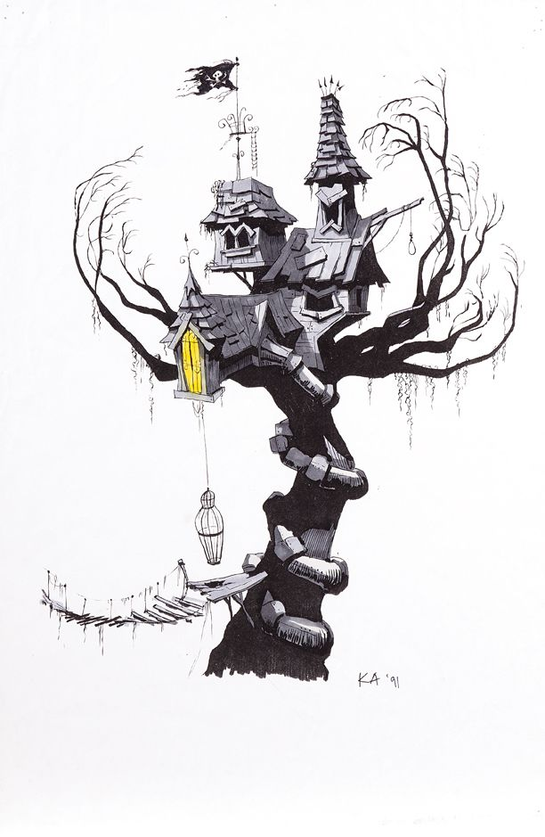 Early Concept For Lock Shock And Barrel Tree House From The Nightmare Before Christmas Christmas Artwork Tim Burton Art Nightmare Before Christmas Tree