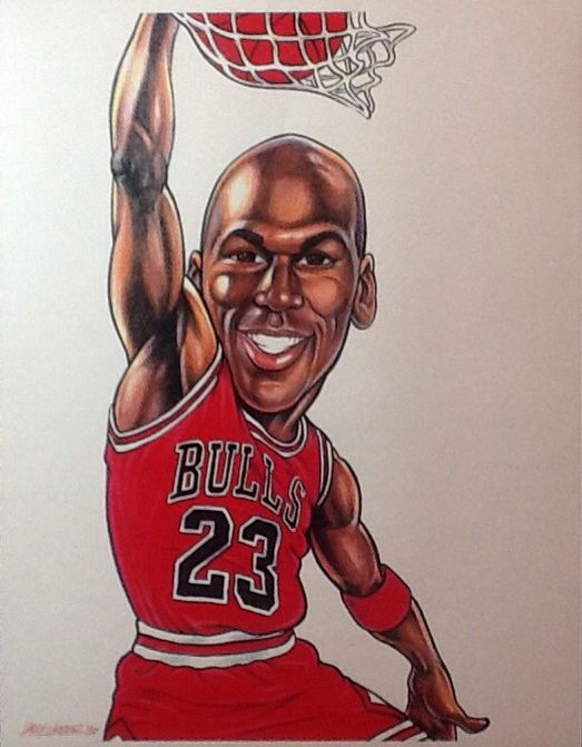 44e98b1d025f7b Michael Jordan caricature by Larry Weber | MJ in 2019 | Cartoon art ...
