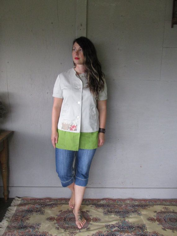 Upcycled clothing funky Mori Girl tunic Romantic Jacket Boho Shabby chic tunic Eco friendly Layering Lagenlook top M-L by LillieNoraDryGoods  Great layering piece, can be worn by itself or over a long sleeve T, with jeans or leggings. Marked size 12, this cotton blend jacket has lots of great details, I added shell buttons, embellished it with vintage lace, a pretty patch and mother of pearl buttons embellishments and lime green bottom  Gentle cold water washing recommended.  Fits size…