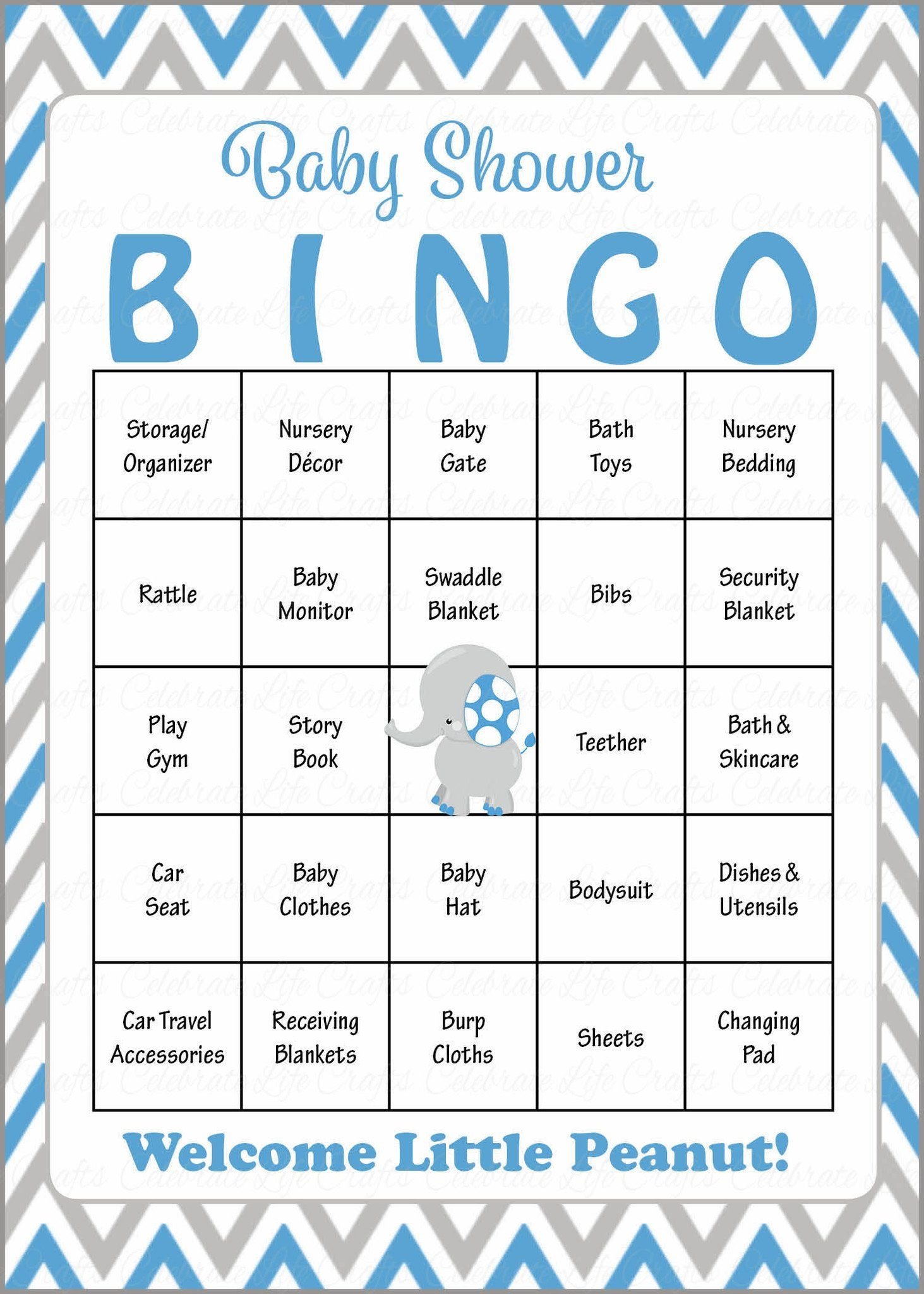 Elephant Baby Bingo Cards Printable Download Prefilled Baby Shower Game For Boy Blue G Baby Shower Bingo Gray Elephant Baby Shower Whales Baby Shower