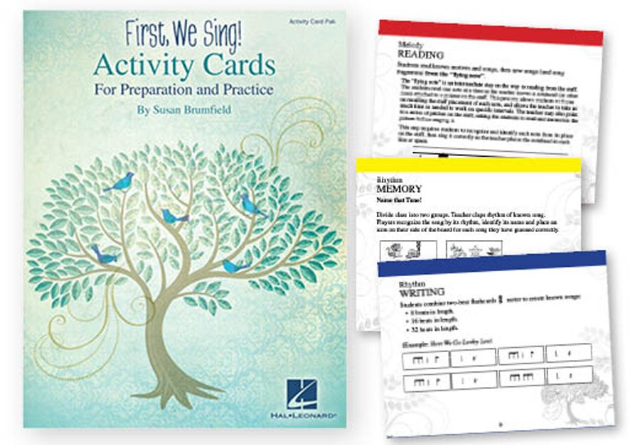 "FIRST, WE SING! Activity Cards - 5-7 min. activities to prepare and reinforce lessons. 4 cards to an 8½"" x 11"" perforated page for easy separation. 144 Cards"