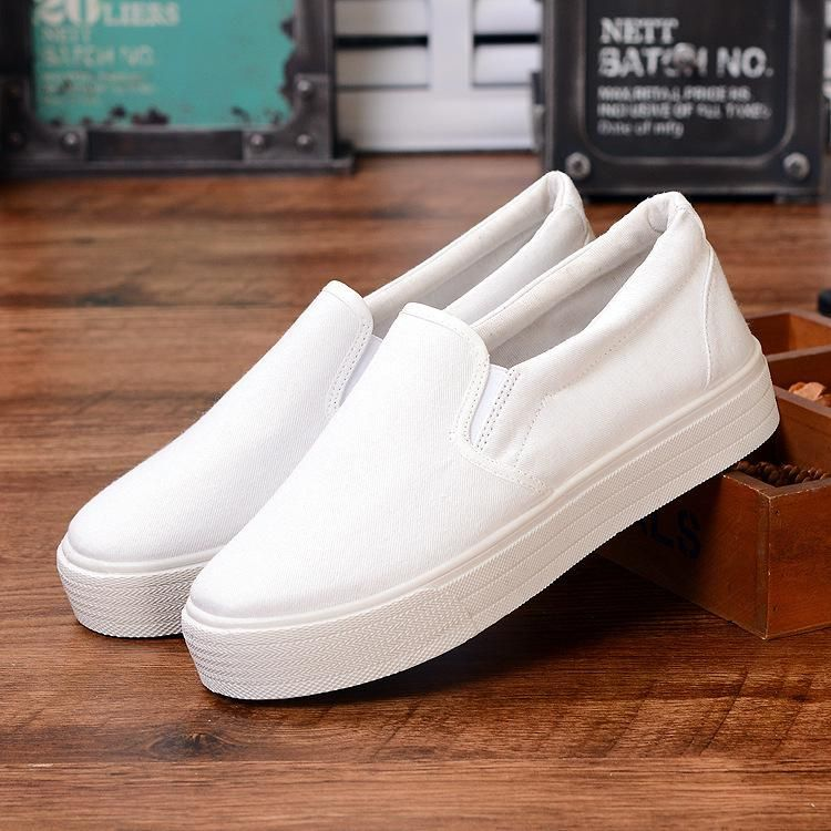 White canvas shoes, Casual flat shoes