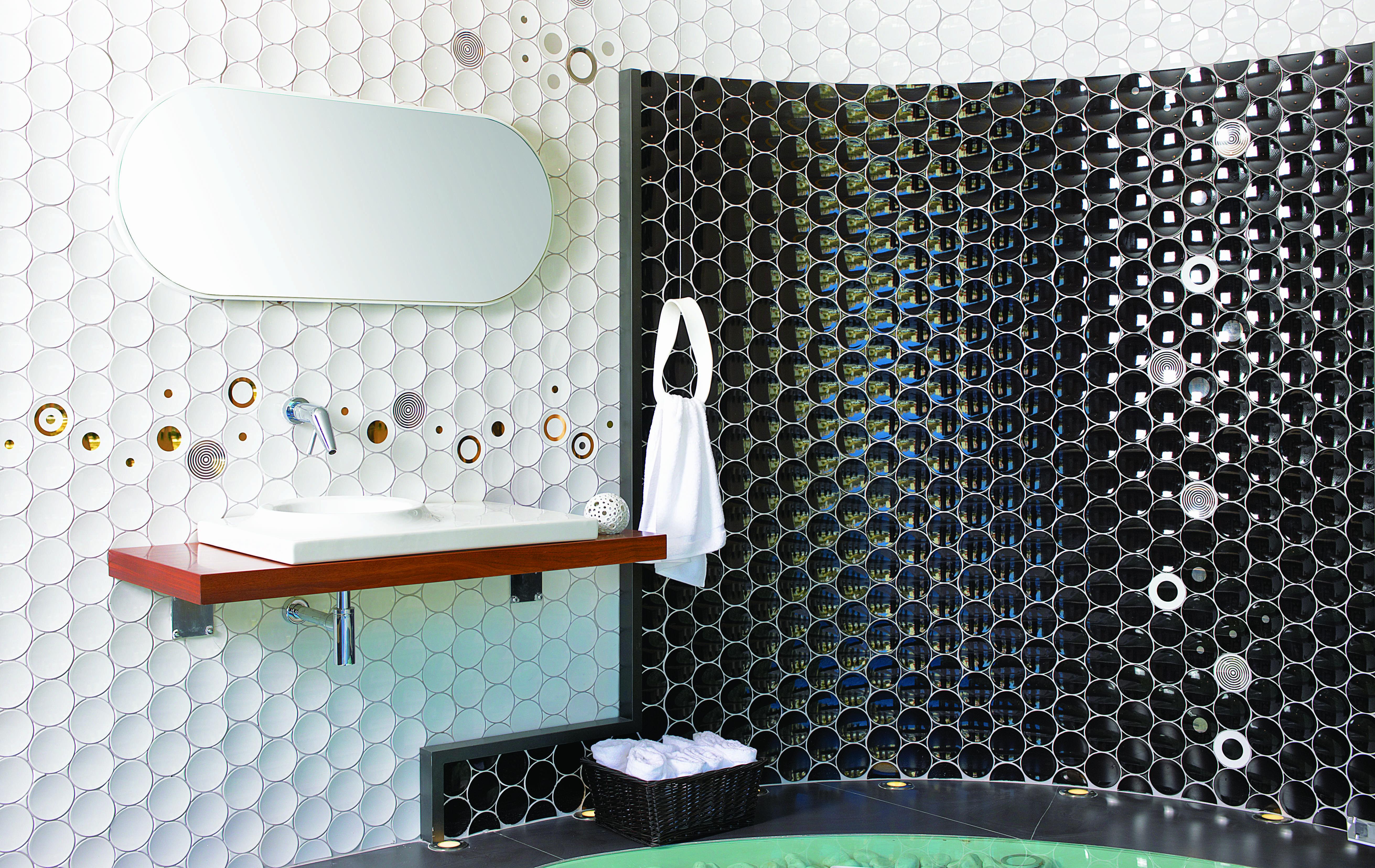Black & White Circle Tiles  Bathroom Bliss  Pinterest  Wall New 3D Tiles For Bathroom Decorating Design