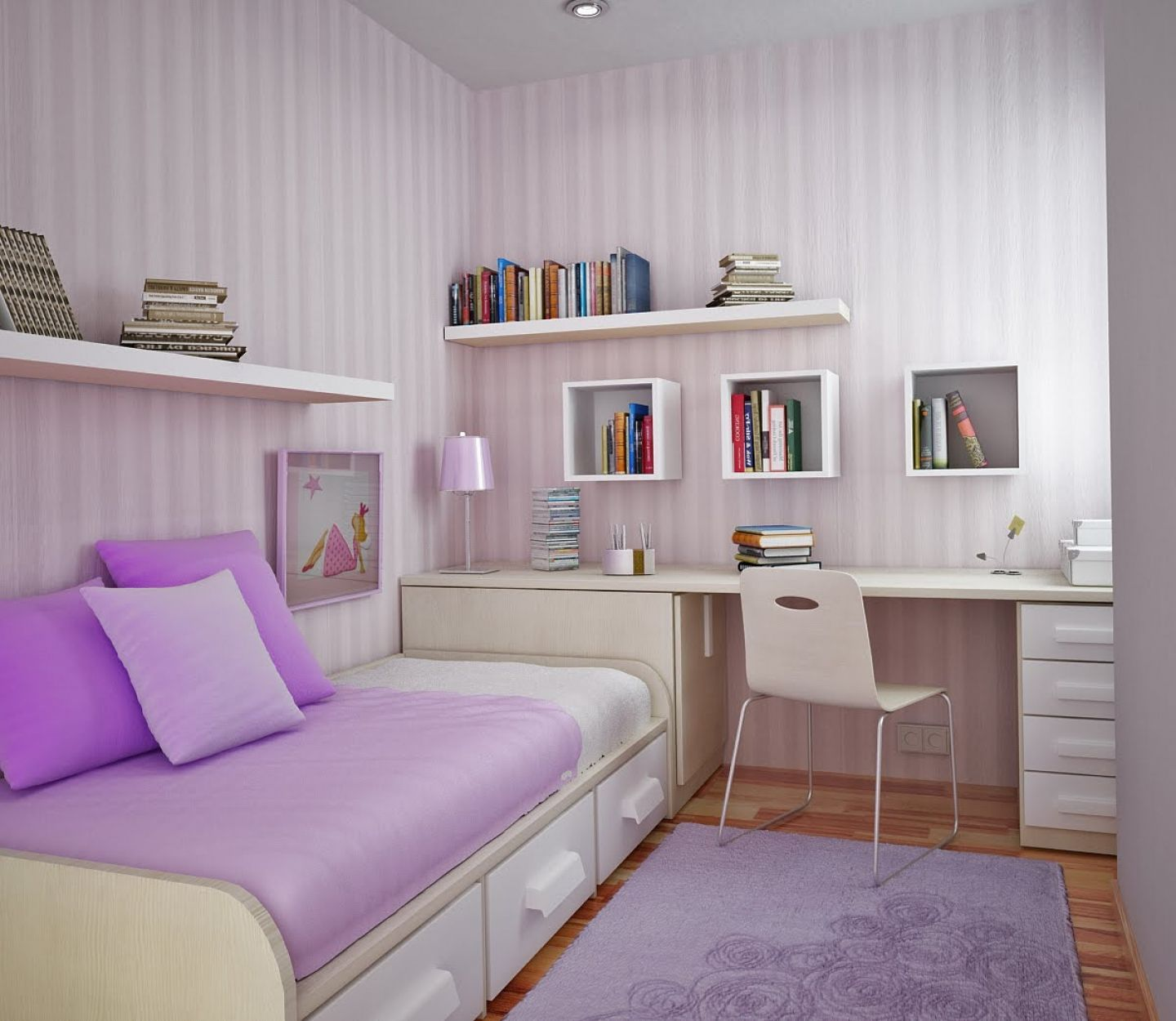 Small Space Ideas Bedroom Part - 26: Delightful Small Teenage Girl Bedroom Decoration With Purple Wall Themes  Idea Picture