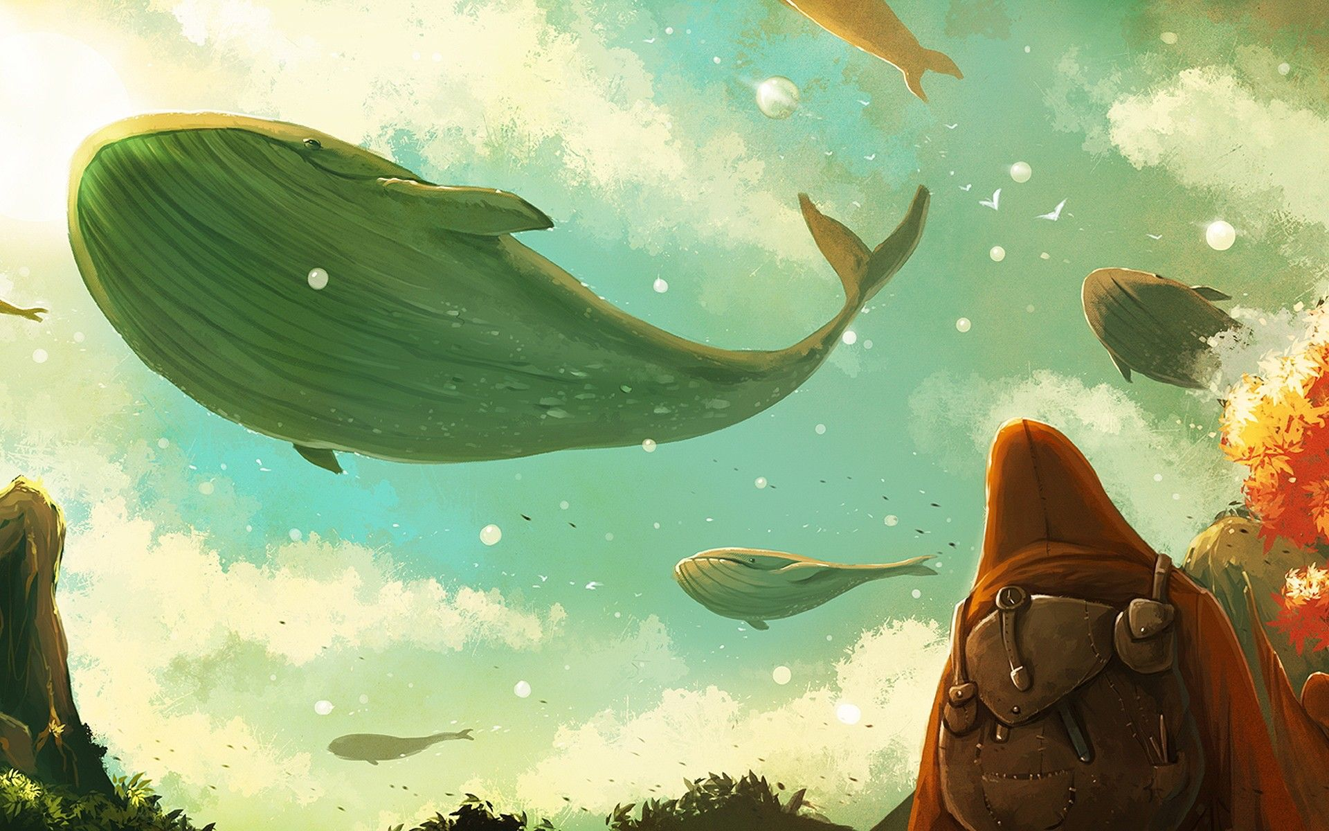 General 1920x1200 flying whale atmosphere surreal backpacks clouds artwork