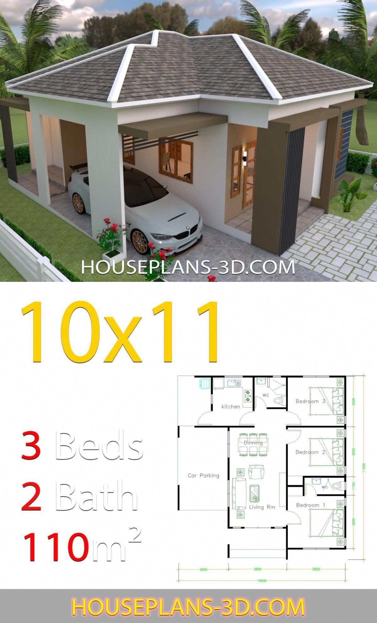 House Design 10x11 With 3 Bedrooms Hip Tiles House Plans 3d Smallhousedecorating In 2020 Simple House Design House Construction Plan Simple House