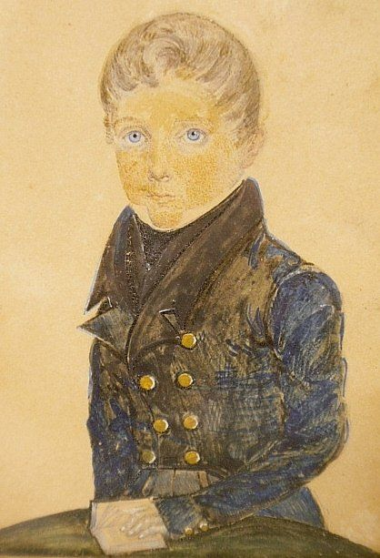 Two miniature watercolor portraits of young boys, : Lot 105