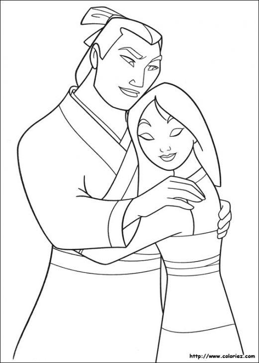 Li Shang Hugging Princess Mulan Disney Free Coloring Page | Disney ...