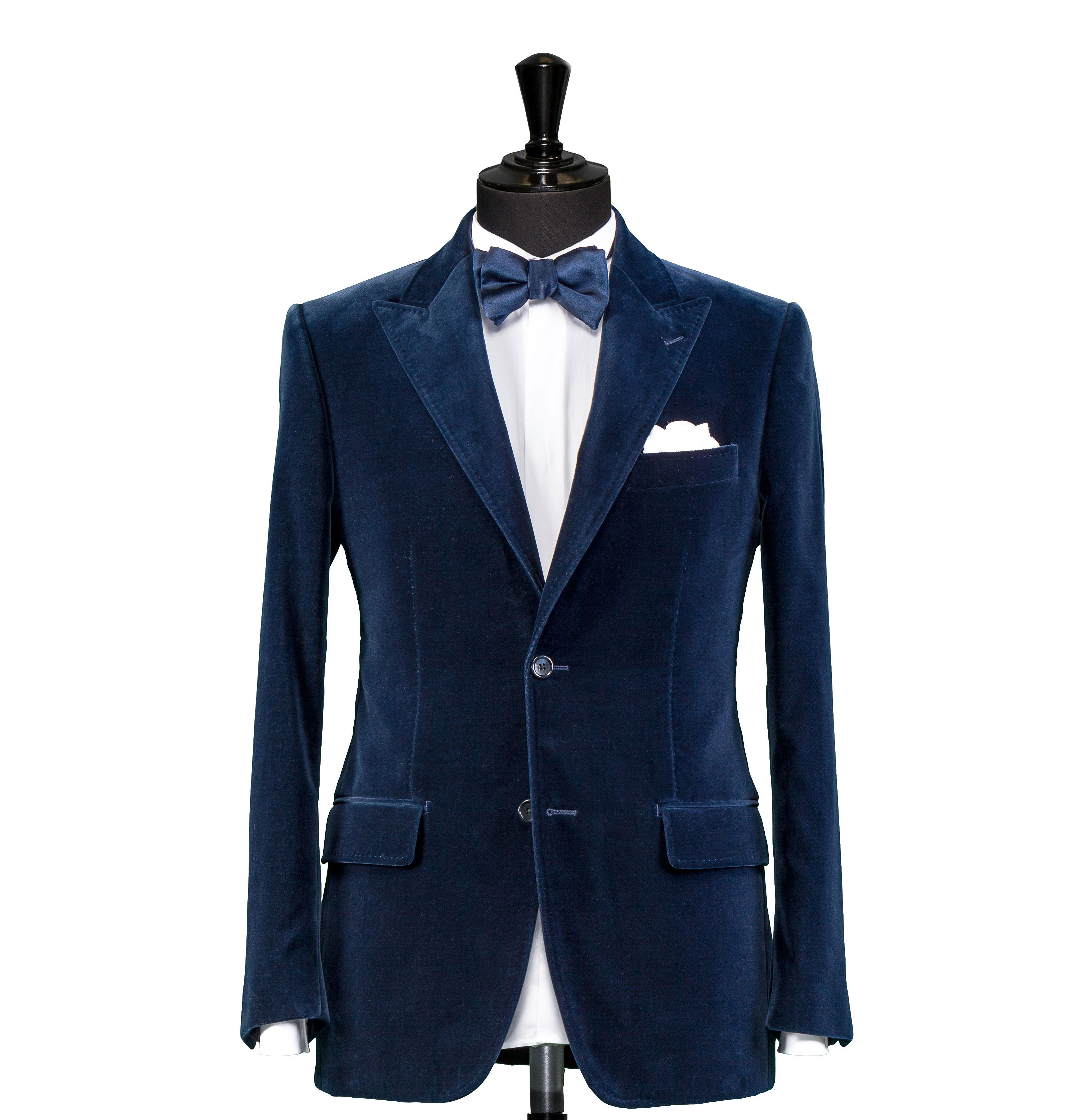 5160cacb7b Tailored Dinner Suit – Fabric 7839 Navy Blue Velvet Peak Lapel Cloth  weight  330g Composition  100% Cotton