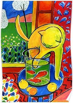 Photo of 'Henri Matisse, Le Chat Aux Poissons Rouges 1914, (The Cat With Red Fishes), Artwork, Men, Women, Youth' Poster by Art-O-Rama Shop