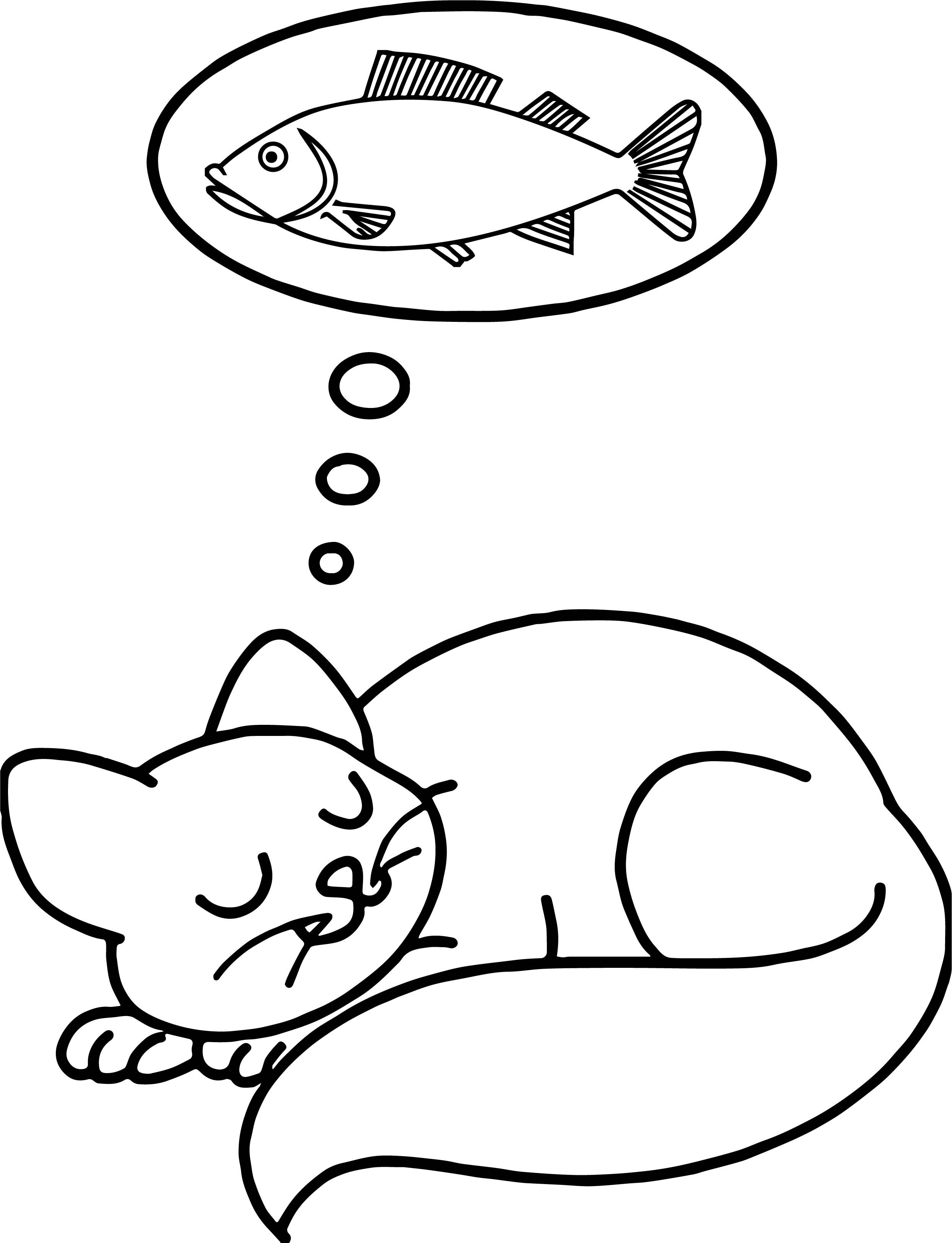 Nice Sleep Fish Dream Cat Coloring Page Cat Coloring Page
