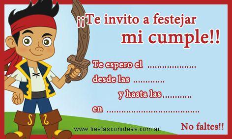 Invitación De Cumpleaños De Jake Y Los Piratas De Disney Me