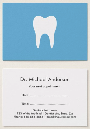 dental appointment cards blue with white tooth logo professional dentist business cards dental clinic visiting cards - Dental Appointment Cards