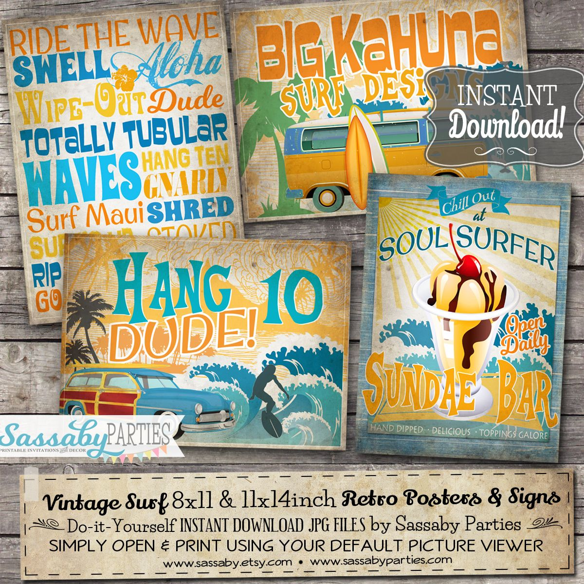 Vintage surf party posters party poster christmas australia and birthdays solutioingenieria Images