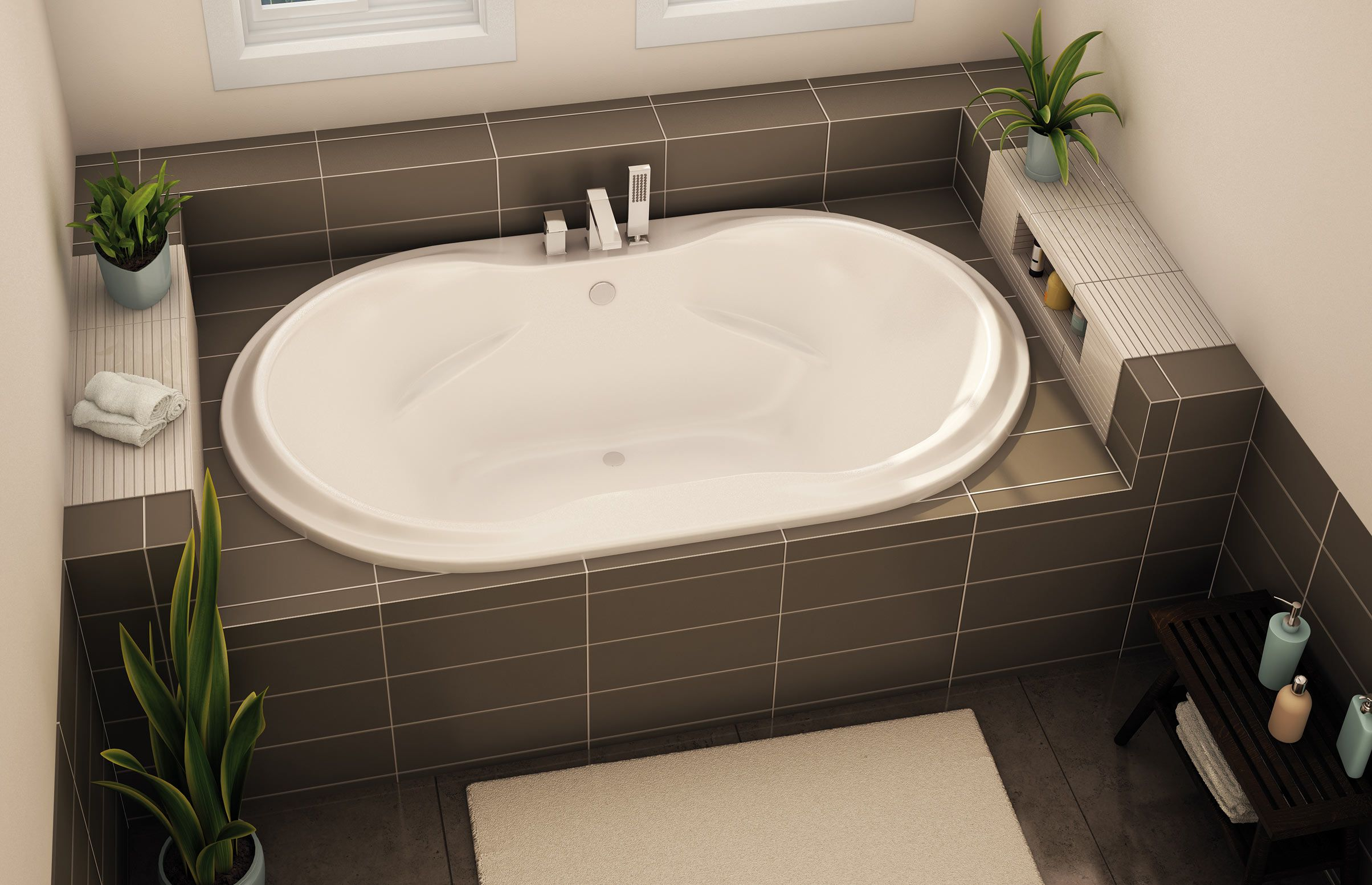 Exceptional Oval Tub With Tap On Side, As Drop In With Tile Surround.