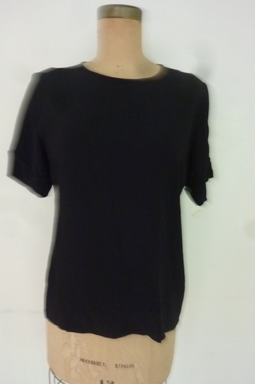 Vintage Yves Saint Laurent Blouse Black Slinky Viscose YSL Short Sleeve Top Made in France Size M Dead Stock 1980's by ZoomVintage on Etsy