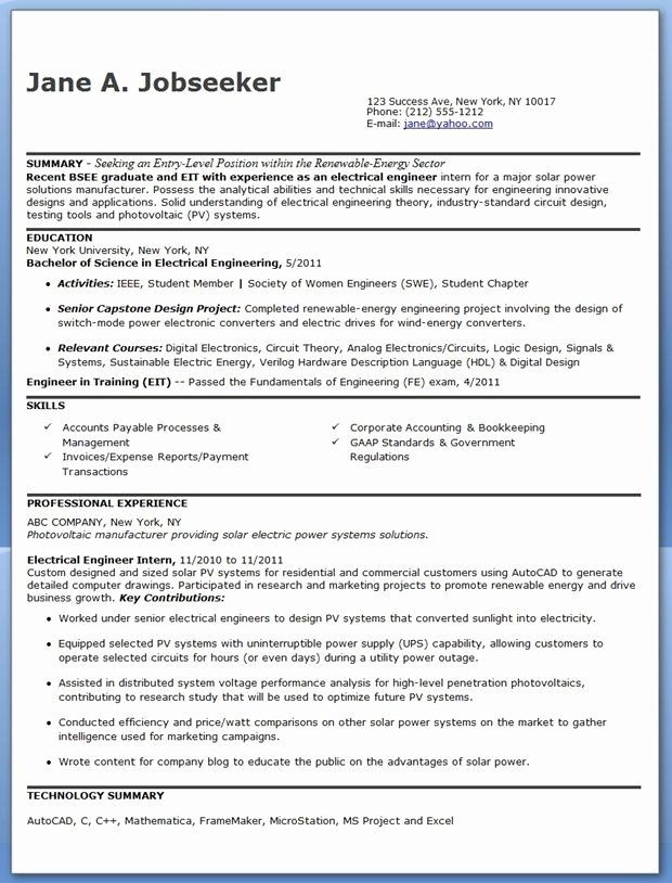 Engineer In Training Resume Awesome Electrical Engineer Resume