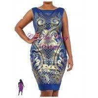 New Plus Size BodyCon Sleeveless Gold and Blue Foil Print Dress 1x 2x 3x