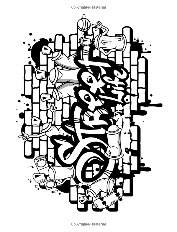 Cool Graffiti Coloring Pages For Adults