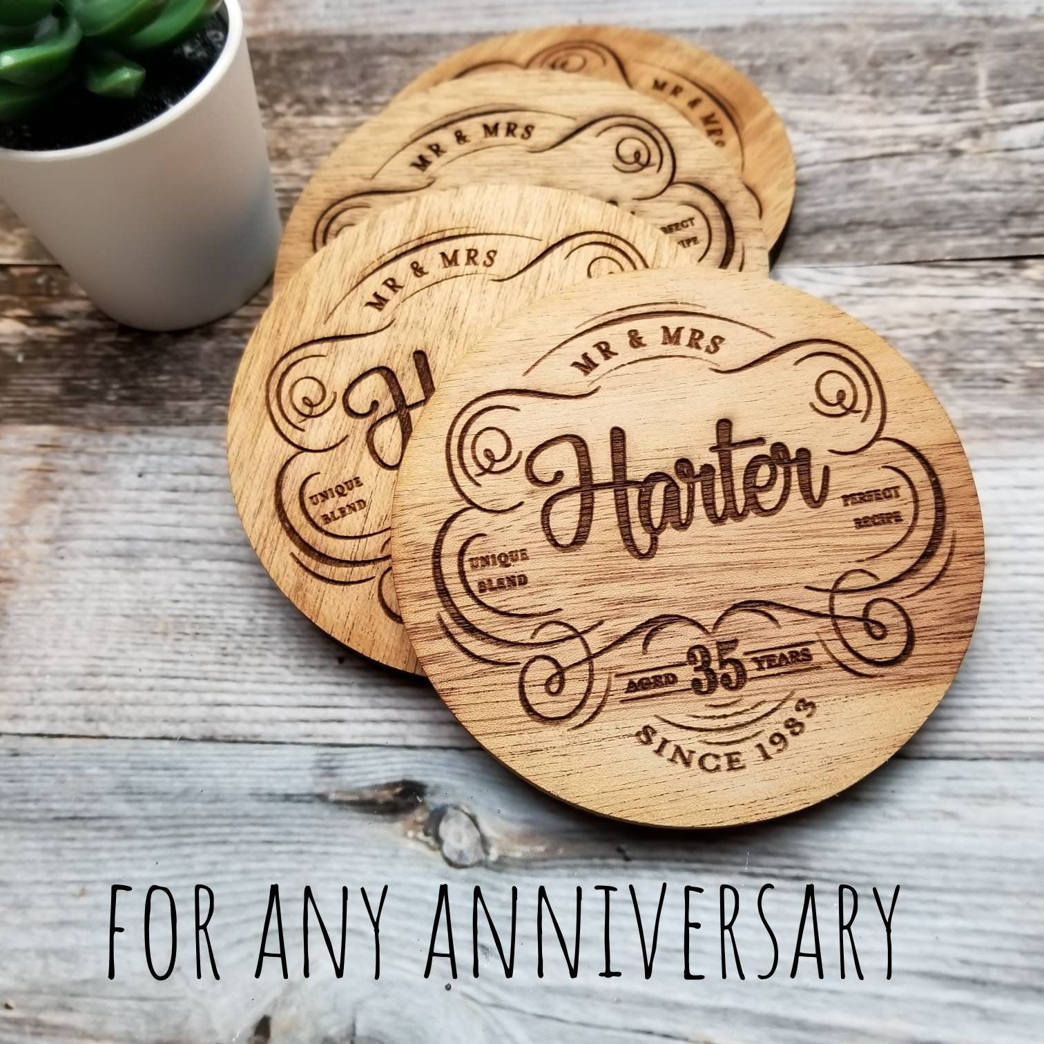 35th Anniversary Gift Personalized Coaster Set, 35 Year