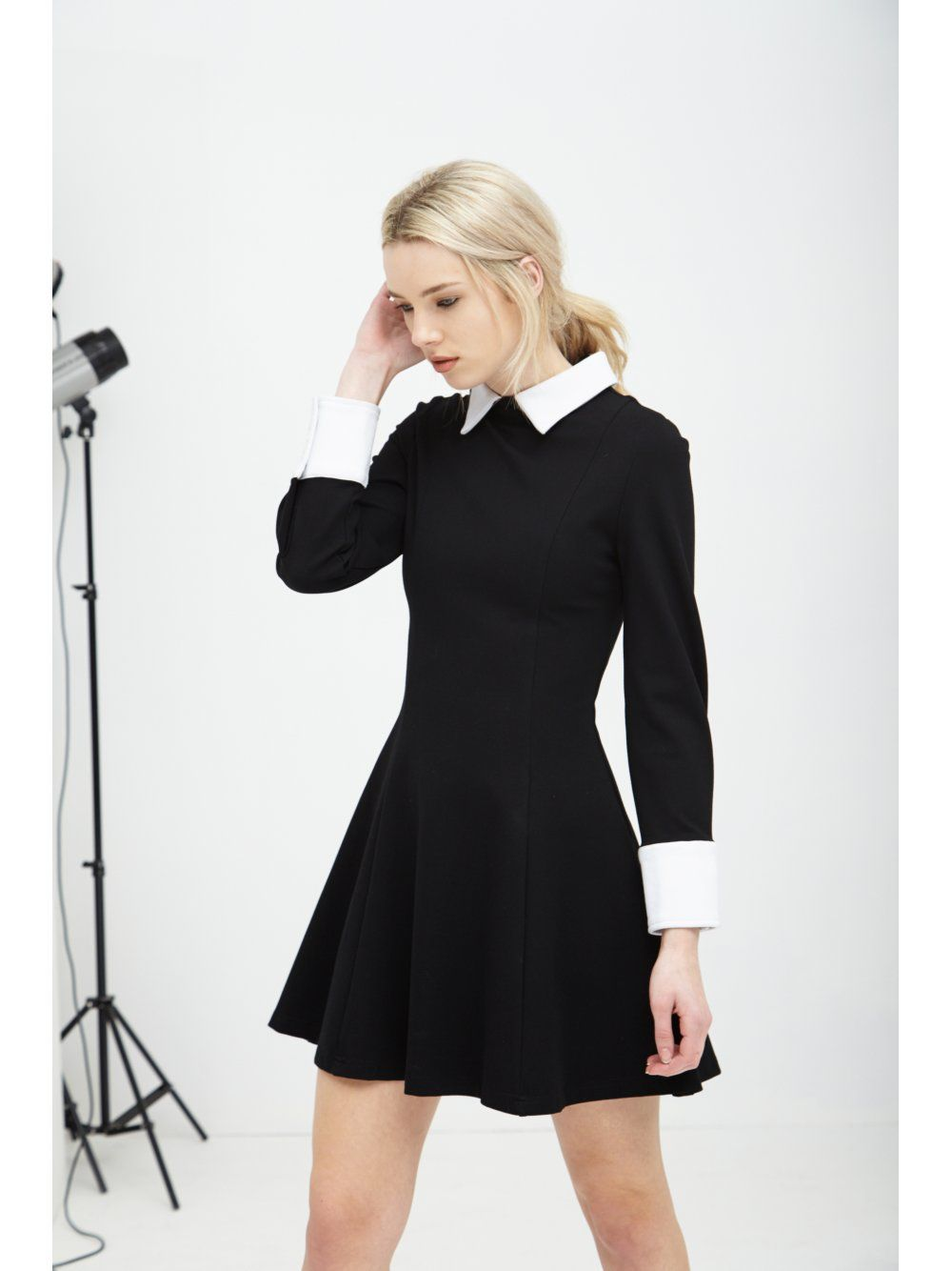 Black & White Structured Long Sleeve Collar Cuff Dress - from ...