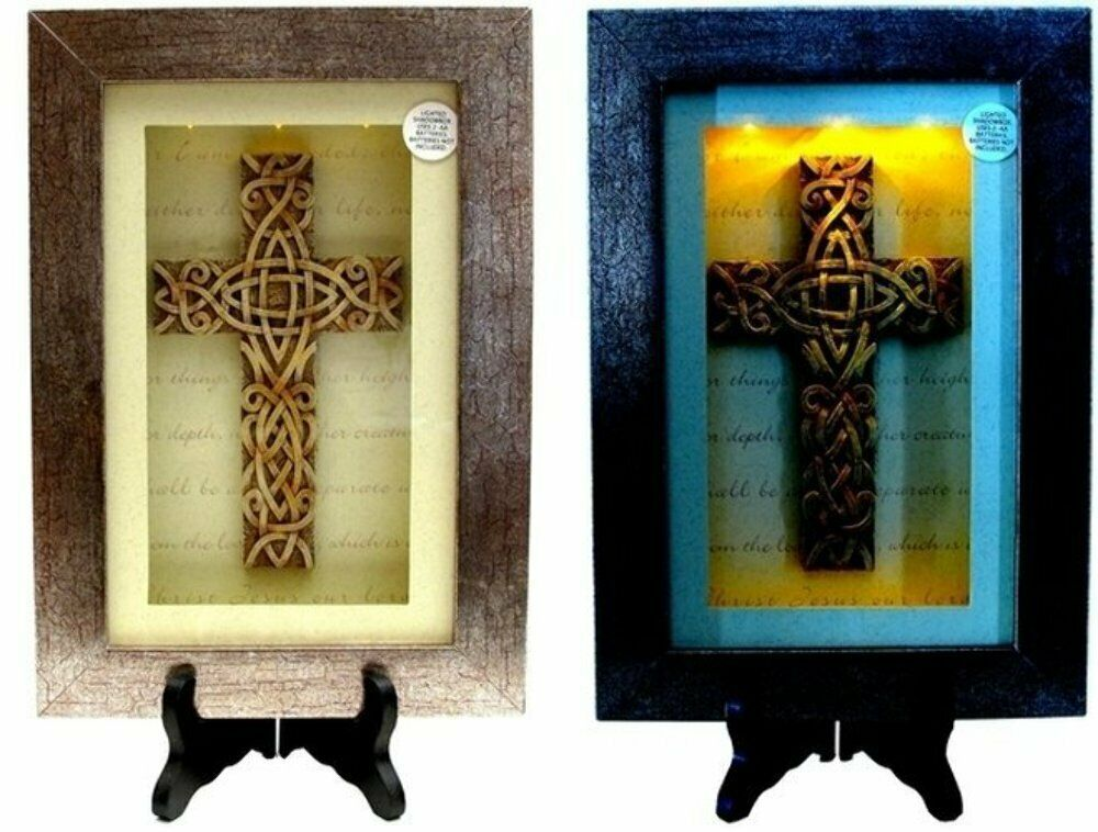 Spiritual Harvest Celtic Cross Lighted Shadow Box Shadow Box Light And Shadow Celtic Cross