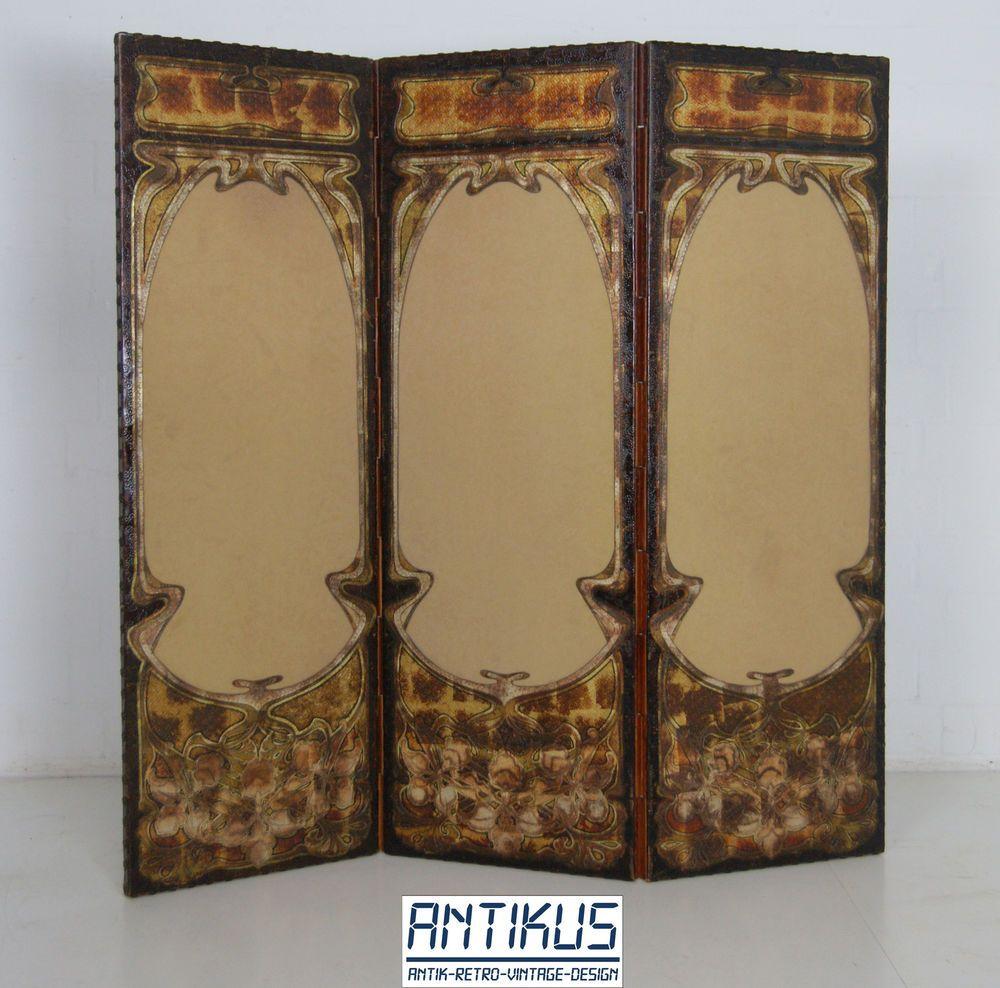 original jugendstil paravent raumteiler spanische wand art nouveau antik leder room screen. Black Bedroom Furniture Sets. Home Design Ideas
