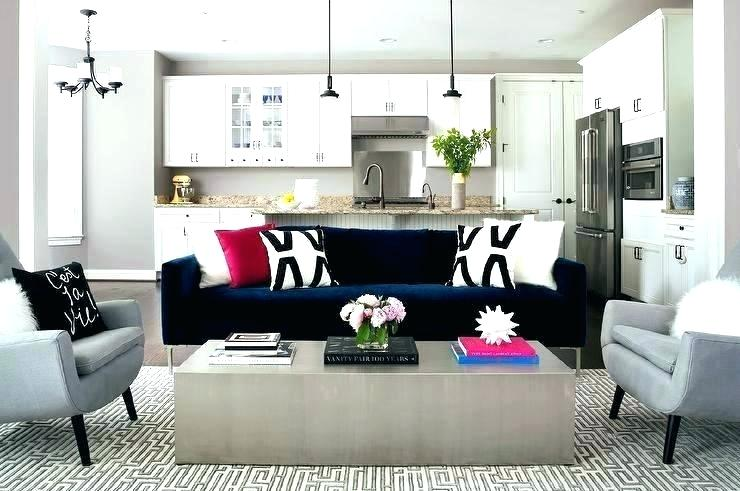 Blue Velvet Sofa Dark Blue Velvet Sofa With Black And White Pillows Gray Accent Chairs Black Dining Room Contemporary Living Room Accent Chairs For Living Room
