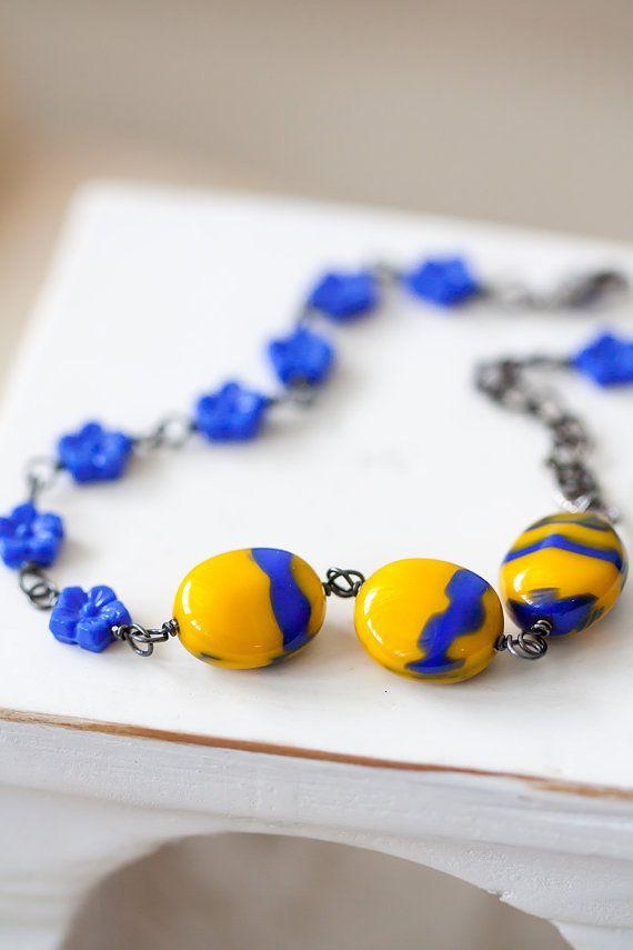 Blaue und gelbe oxidiert Sterlingsilber Armband von MeMadeJewels