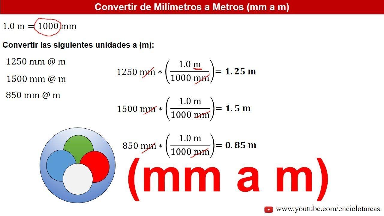 Milímetros A Metros Mm A M Ejemplos Youtube Youtube Conversion De Unidades Estados Unidos