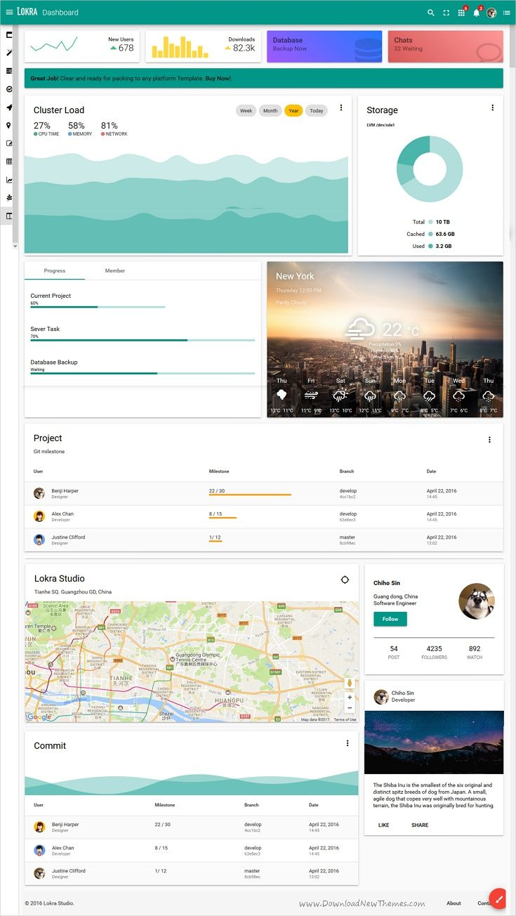Lokra #UI Starter kit is a pure material design #admin template ...