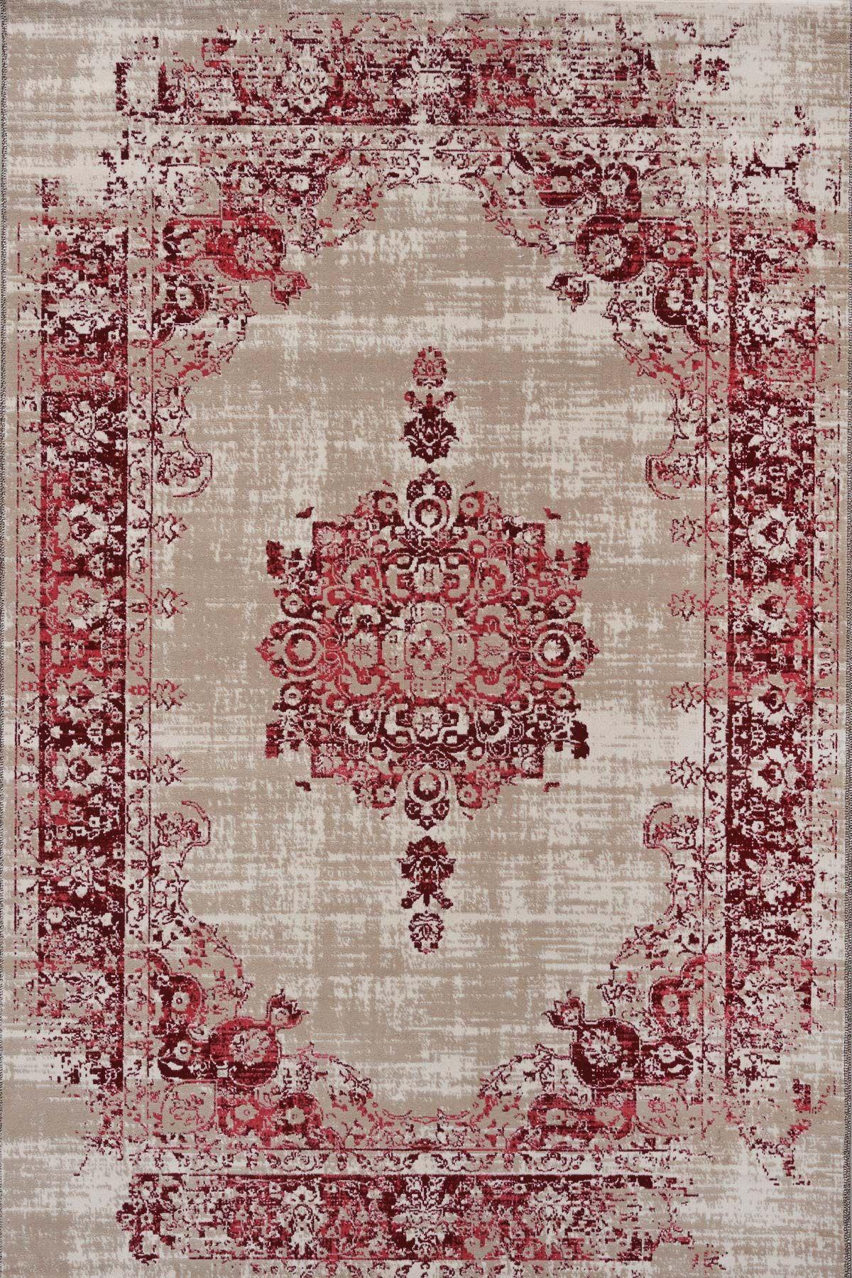6735efb8f44427 Prachtig beige rood Cool Vintage vloerkleed gemaakt van zacht synthetisch  wol. Altijd 50% korting