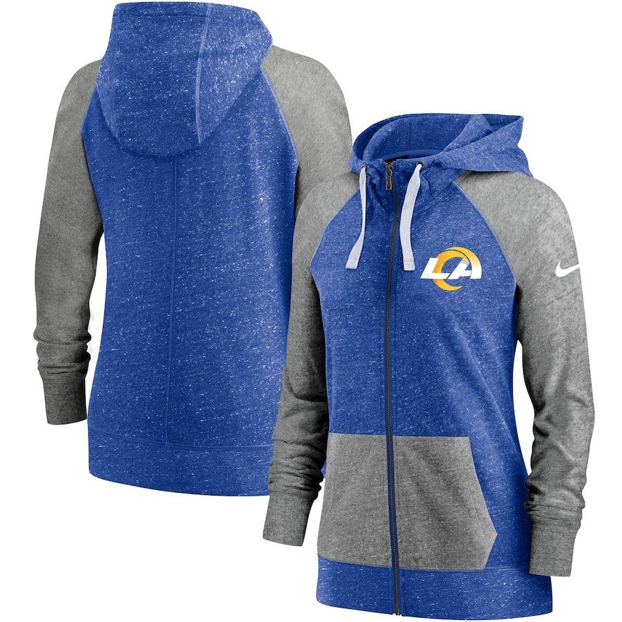 Women S Los Angeles Rams Nike Heathered Royal Logo Gym Vintage Full Zip Hoodie Full Zip Hoodie Hoodies Sweatshirts Women [ 900 x 900 Pixel ]