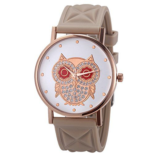 WalJoy Womens Rose Gold Owl Dial Design Grid Silicone Watch Beige -- Click image for more details.Note:It is affiliate link to Amazon.