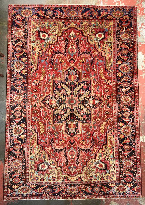 Antique Persian Heriz Serapi Rug 8x11 5 One Of A Kind