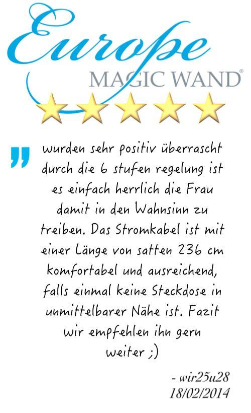 """""""wurden sehr positiv überrascht durch die 6 stufen regelung ist es einfach herrlich die Frau damit in den Wahnsinn zu treiben. Das Stromkabel ist mit einer Länge von satten 236 cm komfortabel und ausreichend, falls einmal keine Steckdose in unmittelbarer Nähe ist. Fazit wir empfehlen ihn gern weiter ;)"""" - wir25u28 18.02.2014, German owner of #EuropeMagicWand wand massager. #5outof5 stars for @EuropeMagicWand. Get more info at www.europemagicwand.de"""