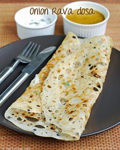 Onion Rava Dosa Recipe: Indian rice and lentil crepes. By Rak's Kitchen. #vegetarian
