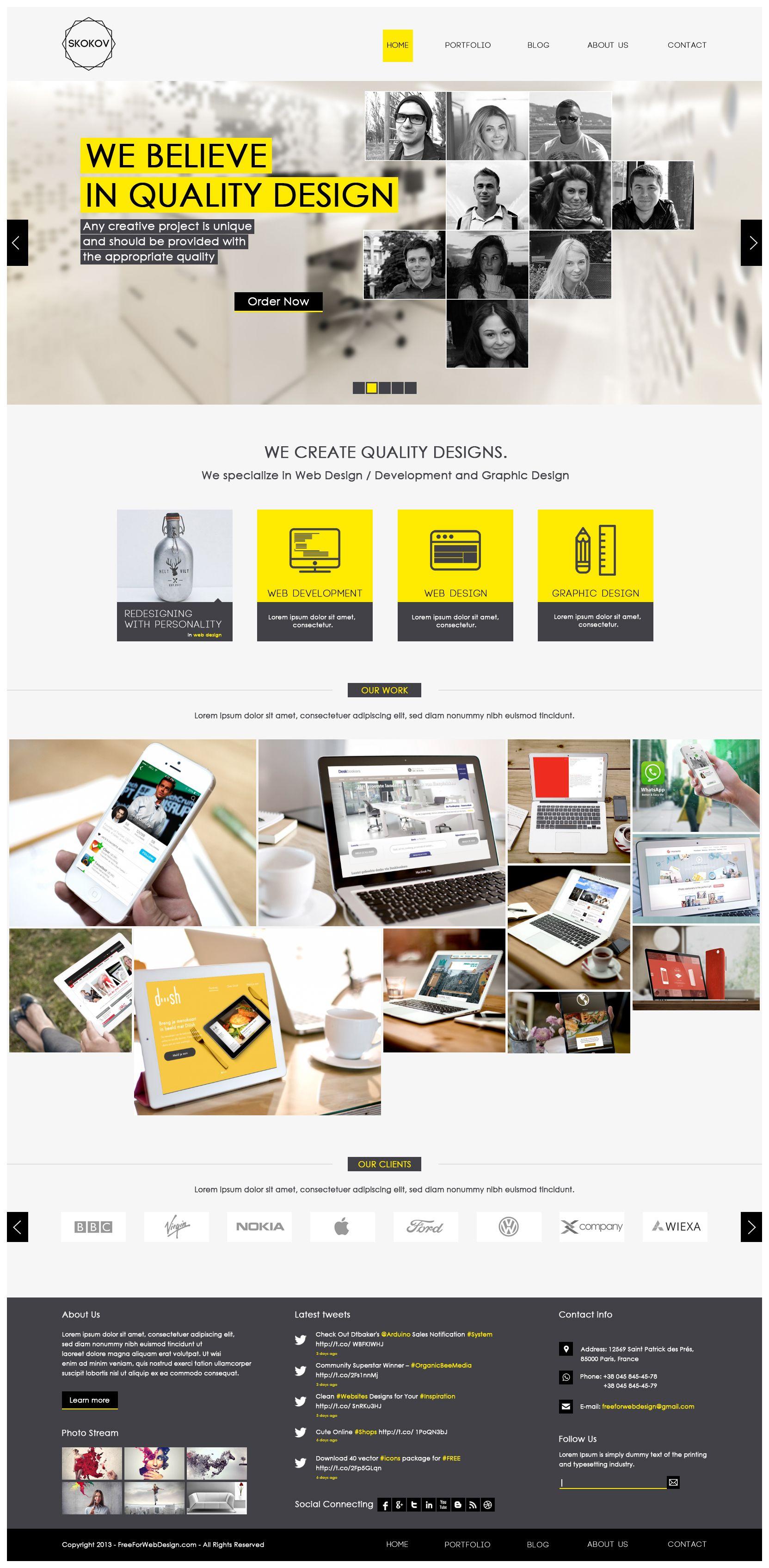 skokov free corporate web design template psd my website