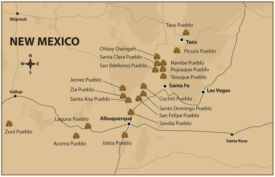 Pueblos New Mexico Map.New Mexico S Nineteen Indian Pueblos Speak Six Different Languages