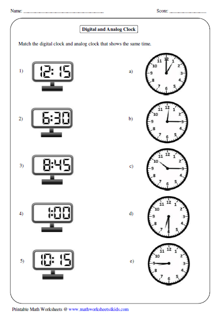 all kinds of time worksheets matching analog and digital clock teach math for kids. Black Bedroom Furniture Sets. Home Design Ideas