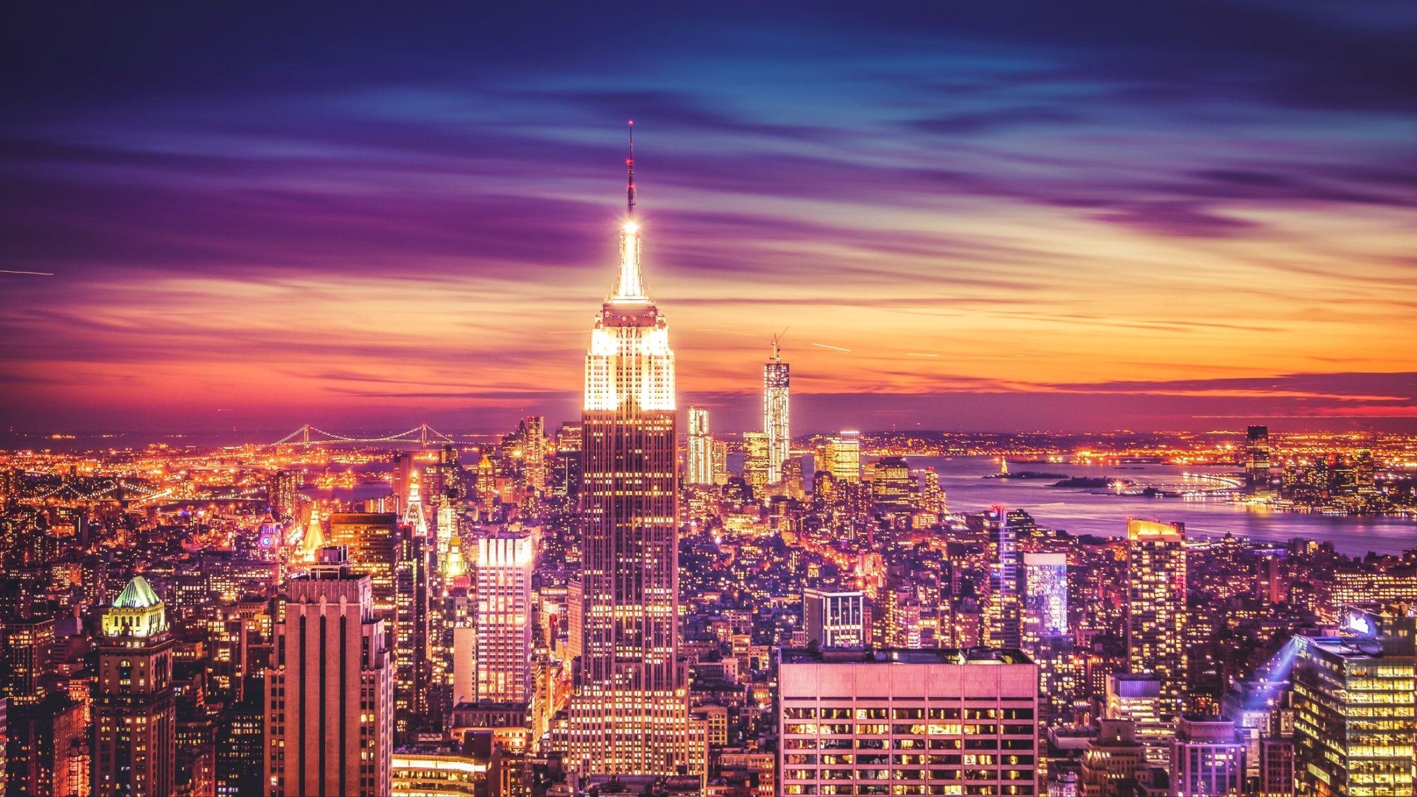 Wallpaper New York City Skyline Sunset
