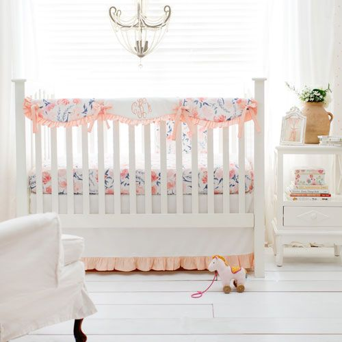 Peach Crib Bedding Set Rosewater In Peach Collection Girl Crib