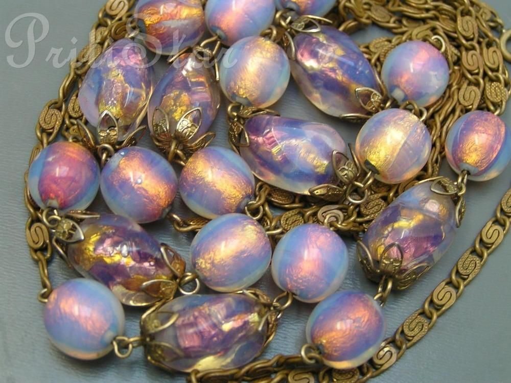 RARE Art Nouveau Deco Czech Opalescent Foil Lava Glass Bohemian beads Necklace