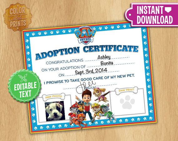 Paw Patrol Adoption Certificate - Instant Download - Custom - fresh cat birth certificate free printable