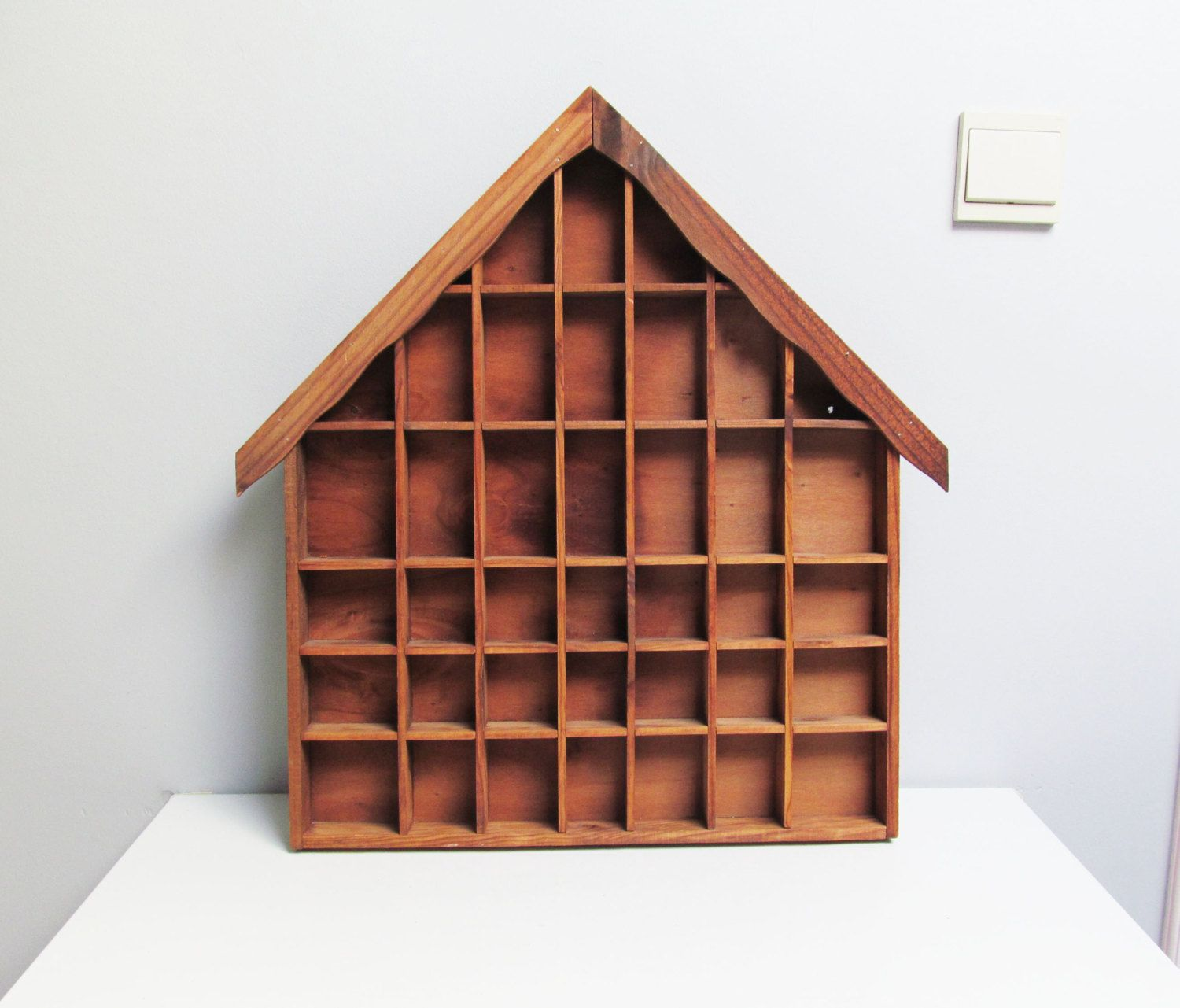 Tall Wood Display Case Shadow Box Miniature Display Case House Shaped Shelf Treasure Display Printers Drawer Kids Room Decor H 21 2 In