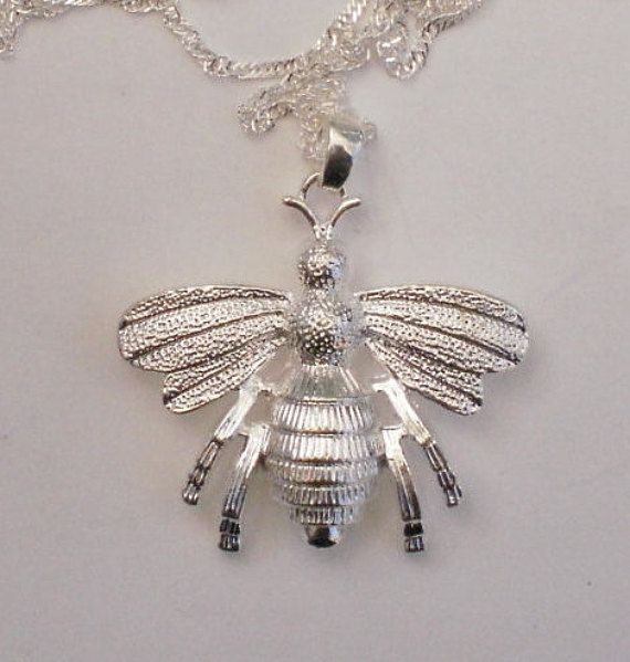 """Large Sterling Silver Bumblebee Pendant and 28"""" Chain, Bee Necklace"""